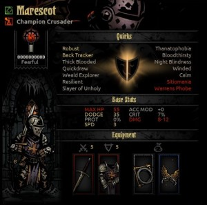 Heroes in Darkest Dungeon pick up a wide range of problems in play.