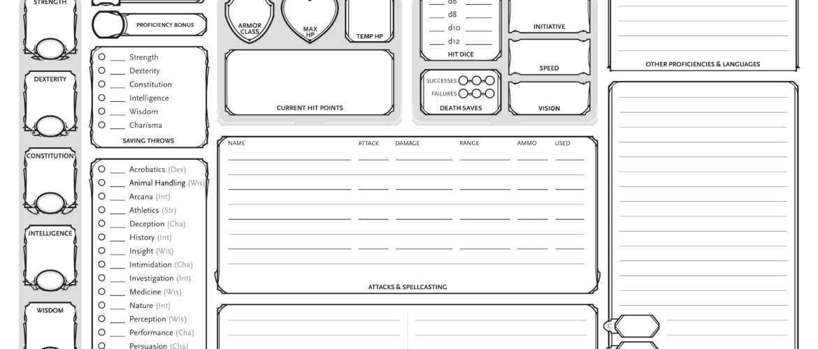 Dungeons and dragons character sheet pdf editable
