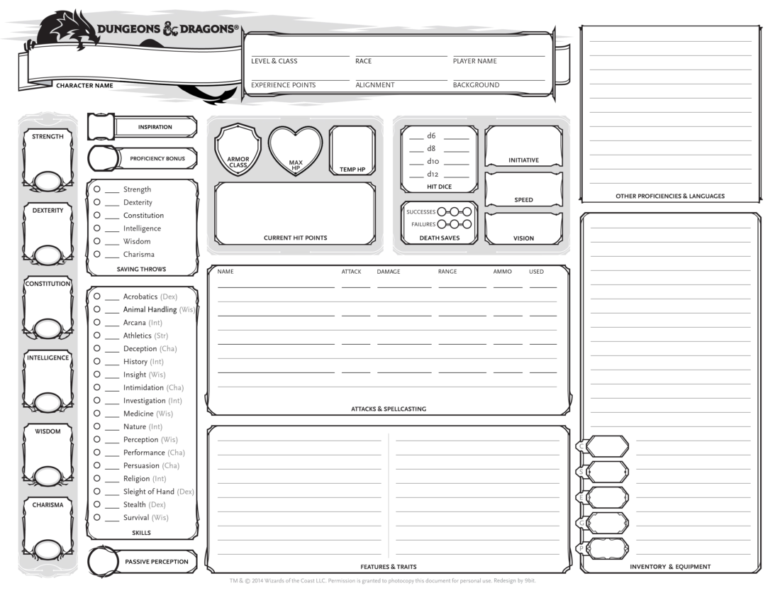 D&D 5e character sheet sample